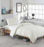 Set lenjerie de pat single, EnLora Home, bumbac/poliester, 160 x 240 cm, 162ELR1308, Alb