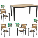 Set mobilier gradina,terasa masa dreptunghiulara cadru aluminiu POLYWOOD NATURAL 150x90x74cm cu 4 scaune 60x57x89cm,4 perne B003014-95310-9520 Raki