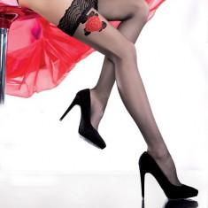 Ciorap shic, cu banda si imprimeu floral, rosu