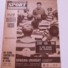 Revista SPORT-nr.12/06.1966(Romania-Uruguay, Steaua)