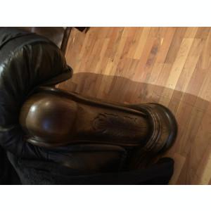 Canapea de piele 2 persoane cu cadru de lemn de nuc