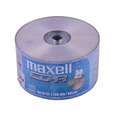 Pachet Bulk Spindle CD-R Maxell, capacitate 700 MB, viteza scriere 52X, 50 bucati