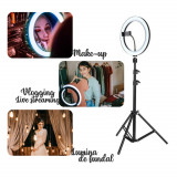 Lampa circulara, 3 trepte, Trepied inclus, pentru Make-up, Vlogging, Live stream