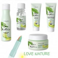Set Love Nature arbore ceai ten gras cu acnee cosuri ulei lotiune corector crema, Oriflame