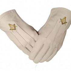 Manusi din piele cu simboluri masonice galbene