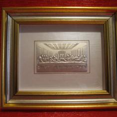 TABLOU PE FOITA DE ARGINT 925 LUIGI PESARESI ITALIA - CINA CEA DE TAINA 20 CM, Ornamentale