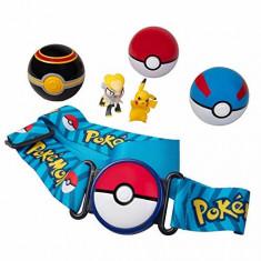 Set 6 piese Pokemon - 2 figurine, 3 bile si curea, Clip 'N' Go, Original