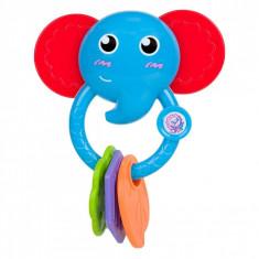 Jucarie zornaitoare, model elefant, 13cm, 3 dentitii, multicolor