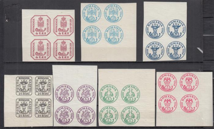 ROMANIA 1932 LP 102 ANIVERSAREA 75 ANI CAP DE BOUR BLOCURI DE 4 TIMBRE MNH