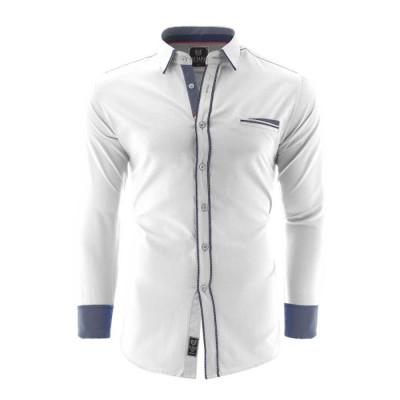 Camasa pentru barbati, alb, Slim fit, casual, cu guler - Catania foto