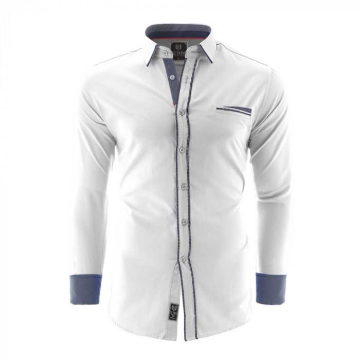 Camasa pentru barbati, alb, Slim fit, casual, cu guler - Catania