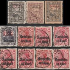 1917-1918 Ocupatia Germana in Romania - 13 timbre supratipar MViR + Rumanien