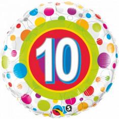 Balon aniversar 10 ani din folie cu buline 43cm