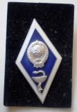 I.937 INSIGNA MILITARA RUSIA URSS MEDICINA ABSOLVENT INSTITUTUL MEDICAL