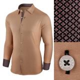 Camasa pentru barbati maro flex fit elastica casual cu guler Business Class Ultra