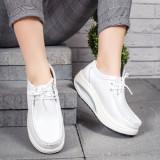 Pantofi Piele dama casual albi Bunazi