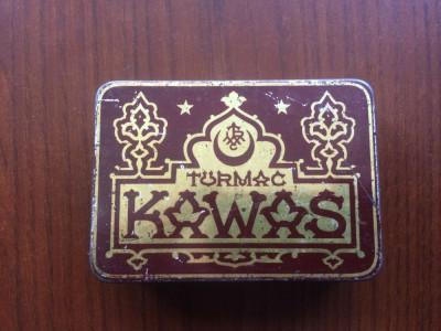 cutie tigari veche din tabla turmac kawas turkish macedonian tobacco company rar foto