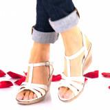 Sandale dama crem din piele naturala - NA134