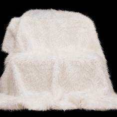Cuvertură pat matrimonial alba Snur 220/240  , blana sintetica