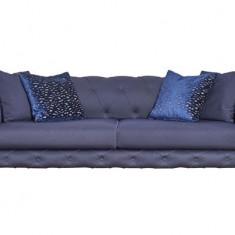Canapea fixa tapitata cu stofa, 3 locuri Bristol Bleumarin, l240xA108xH73 cm