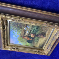 Tablou pictura cocosi, Animale, Ulei, Realism