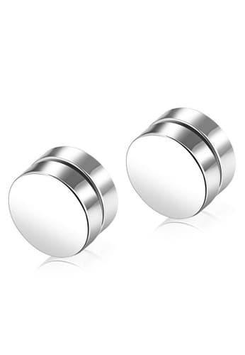 Cercei barbell magnetici silver,nu necesita gaurirea urechii 8 mm