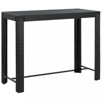 Masă de bar de grădină, negru, 140,5x60,5x110,5 cm, poliratan foto