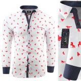 Camasa pentru barbati super premium flex fit alb rosu casual cu guler mustang