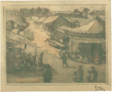 Cumpara ieftin Gravura La balci semnata 1931 R. Iosif / Iosif Rosenbluth 15x19.5 cm, Peisaje, Fresca, Impresionism