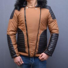 Geaca scurta barbati slimfit maro cu negro de iarna, M, XL