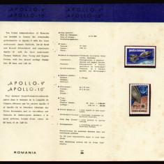 1969 Romania, Apollo 9 si 10 LP 702, pliant filatelic de prezentare