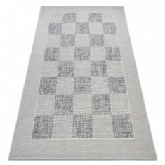 Covor sisal Fort 36217051 tablă de şah albastru / bej, 200x290 cm