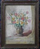 Tablou – pictură cu flori în ulei pe pânză, 1947
