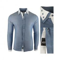 Camasa pentru barbati super slim fit elastica casual cu guler blackrock basic albastru