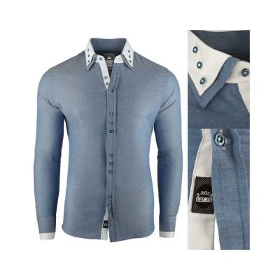Camasa pentru barbati, super slim fit, elastica, casual, cu guler - blackrock basic albastru foto