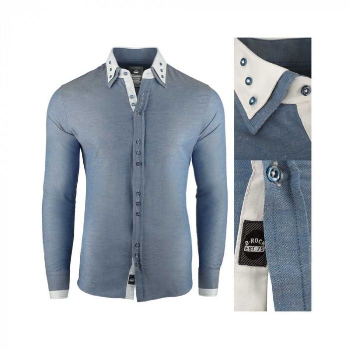 Camasa pentru barbati, super slim fit, elastica, casual, cu guler - blackrock basic albastru