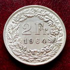 ELVETIA - 2 Franci 1964 B ( Francs - Franken ) Argint - stare aUNC-UNC