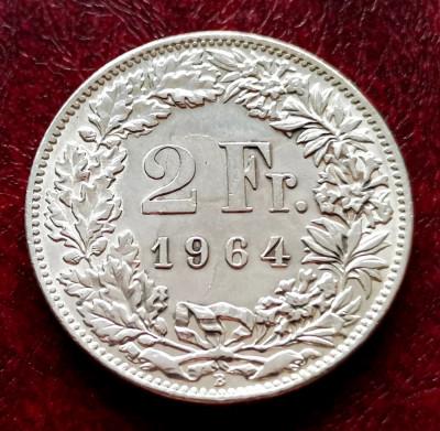 ELVETIA - 2 Franci 1964 B ( Francs - Franken ) Argint - stare aUNC-UNC foto