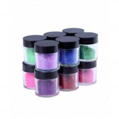 Sclipici pentru unghii, 12 x 10 g, Multicolor