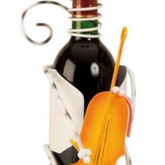 Suport pentru Sticla Vin model Pisica Metal Lucios Capacitate 1 Sticla H 36.5 cm