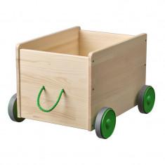 Cutie depozitare jucarii cu roti, 44 x 39 x 31 cm, Crem/Verde