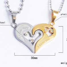 Pandantiv /  Lantisor pt cuplu indragostiti I Love You inima