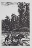 BELA SZABO - COPIL CU VACA LA RAU , XILOGRAVURA ,MONOCROMA, DATATA 1944