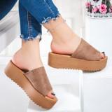 Papuci cu platforma dama bej Madisala