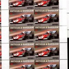 ANTIGUA SI BARBUDA 2002 AUTOMOBILE , FERARRI , BLOC DE 10 NESTAMPILAT