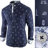 Cumpara ieftin Camasa pentru barbati, bleumarin, slim fit, casual - London Town Cool