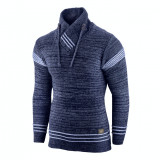 Pulover pentru barbati, bleumarin, guler inalt, flex fit, casual - Alaska Hutte