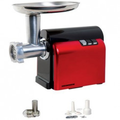 Masina de tocat carne Heinner MG-1500DC, 1500W accesoriu carnati/suc rosii, rosu
