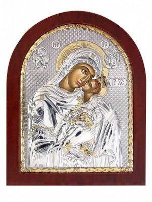 Maica Domnului Dulcea Sarutare, Foita Argint 925, 11x13cm,Cod Produs:2461 foto
