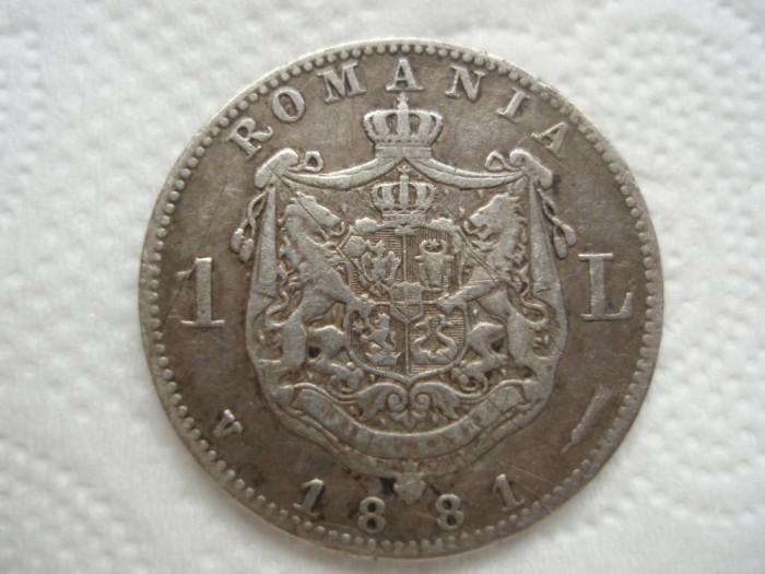 ROMANIA - 1 LEU 1881, AG835 , CAROL I , L7.57